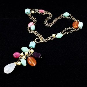 Vintage Necklace Convertible Glass +Natural Stones